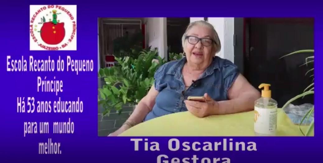Assista ao vídeo da Gestora Tia Oscarlina em comemoração aos 53 anos da Escola Recanto do Pequeno Príncipe.