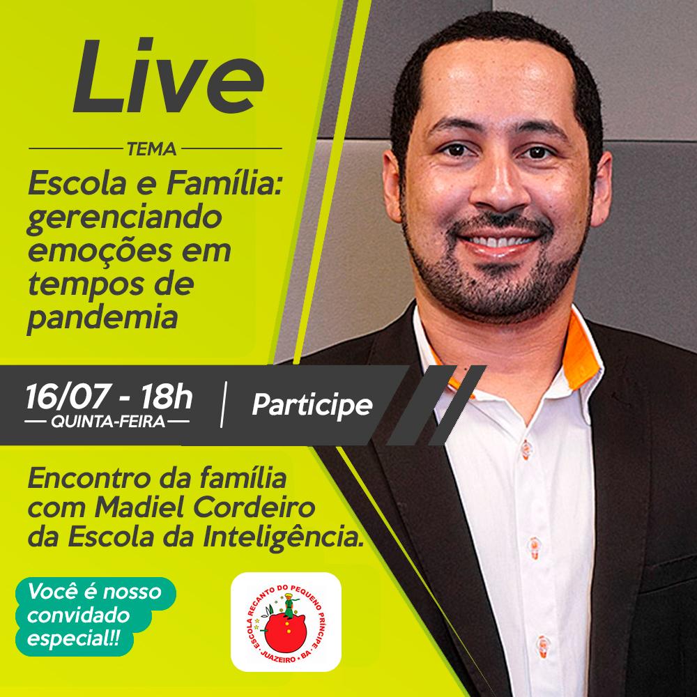A Escola Recanto do Pequeno Príncipe promove nesta quinta-feira, 16/07, às 18h, a Live: Escola e Família, gerenciado emoções em tempos de pandemia. Fique atento ao link que vai chegar no seu Whatsapp e participe.